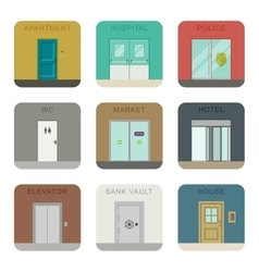 Doors icons set vector