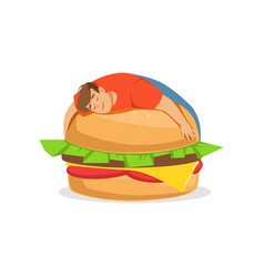 Fat obese man sleeping on a giant burger bad vector