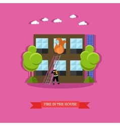 Fire in the house in flat vector