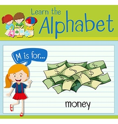 Flashcard letter M is for money vector image vector image