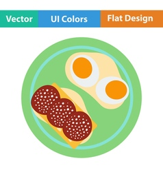 Flat design icon of Omlet and sandwich vector image