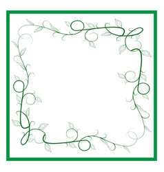 Frame of green twig card vector