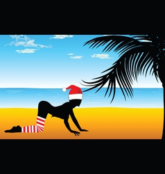 girl in red hat on the beach with palm tree vector image