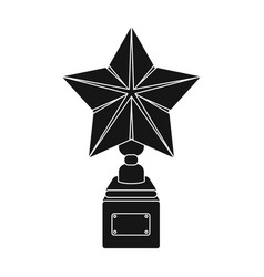 gold prize in the shape of a star on a standthe vector image