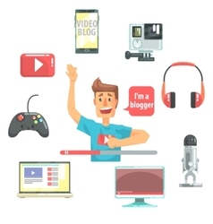 Guy video blogger and his recording equipment set vector