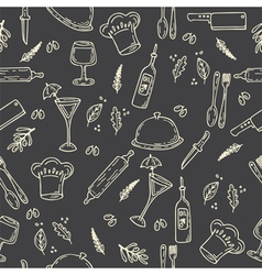 Hand drawn food seamless pattern sketch kitchen vector