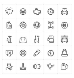 Mini icon set - garage and auto part icon vector