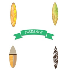 Set of surfboards vector image