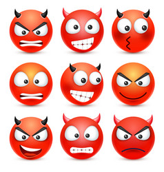 Smileyemoticon set red face with emotions vector