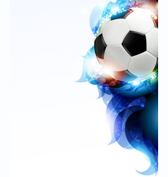 soccer ball with abstract blue petals vector image