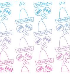 Sombrero hat maracas mexico culture pattern image vector