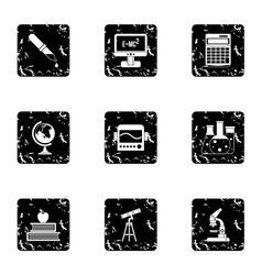 Study icons set grunge style vector