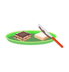 Tasty food a sandwich with chocolatefood single vector