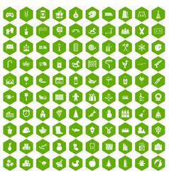 100 preschool education icons hexagon green vector