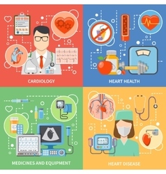 Cardiology Flat 2x2 Icons Set vector image