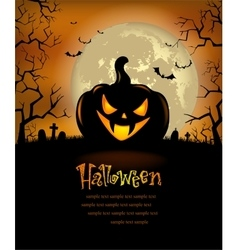 Halloween background with scary pumpkins vector
