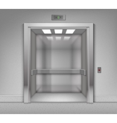 Open chrome metal office building elevator vector