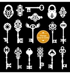 White keys and locks set vector