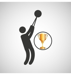 Silhouette man hammer throw athlete trophy vector