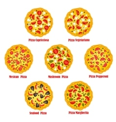Pizza fast food isolated pizzeria icons set vector