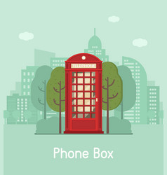 red phone box in modern city vector image
