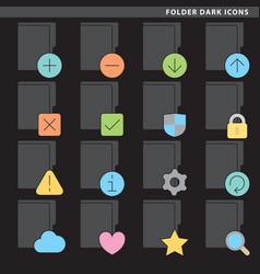 Folder dark icons vector