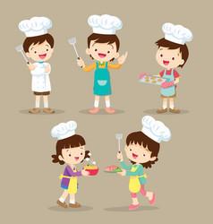 set of children cooking vector image