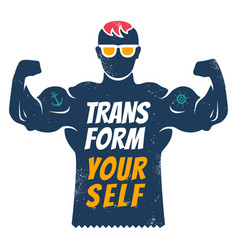 Poster with bodybuilder for fitness motivation vector