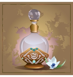 Perfume bottle and lily vector