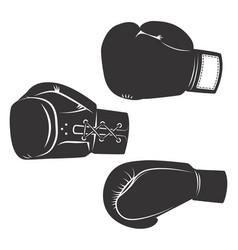 Set of the boxing gloves icons isolated on white vector