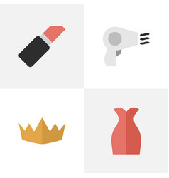 Set of simple elegance icons elements dress crown vector