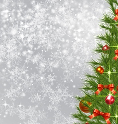 Snowflake background with christmas tree vector