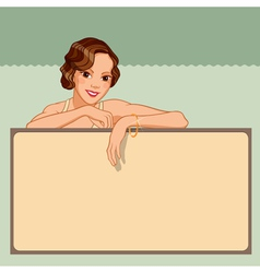 Smiling young woman leaning against a blank board vector image