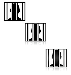 Behind bars vector