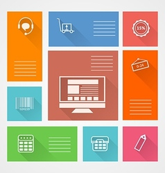 Flat square icons for web store vector image