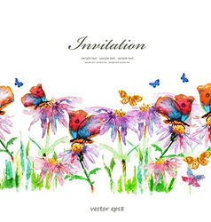 Cute floral border watercolor vector