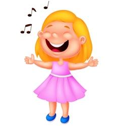 Little girl singing vector image