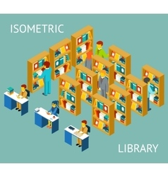 Library in isometric flat style people among vector