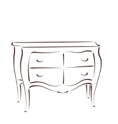 Sketched chest of drawers vector