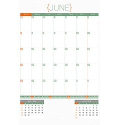 Calendar planner 2016 design template june week vector