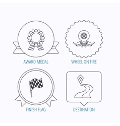 Winner award medal destination and flag icons vector