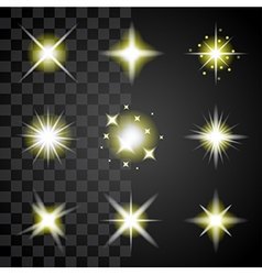 Transparent stars and sparkles icons set vector