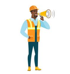 African-american builder talking into loudspeaker vector