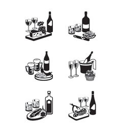 Alcoholic drinks with appetizers vector image vector image
