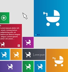 Baby stroller icon sign buttons modern interface vector