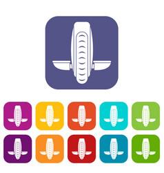 Balance vehicle icons set flat vector