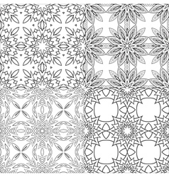 Black and white textile patterns set vector