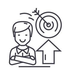 businessmansuccessgoal target line icon vector image