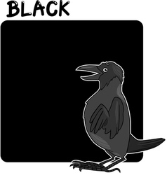 Color black and crow cartoon vector