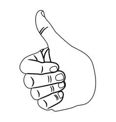 Contour hand all good icon vector